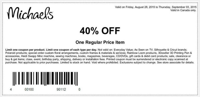 michaels store art & cafts.promotionseptiembre