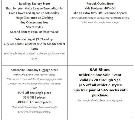 Deals Lake Buena Vista Factory Store Septiembre 06