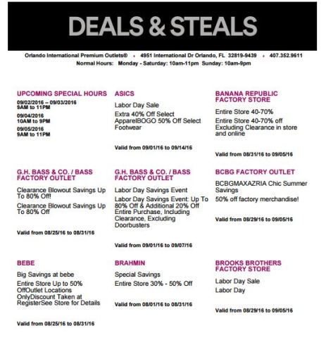 Deals Orlando International Premium Outlet Septiembre 01