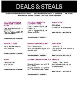 Deals Orlando International Premium Outlet Septiembre 07