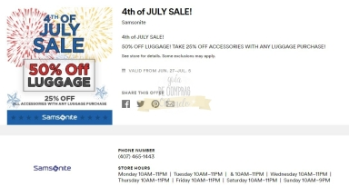 Cupones Premium Outlets 4th of July 16